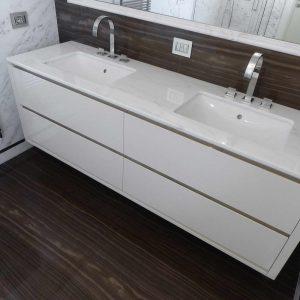 bagno in marmo Tobacco Brown e Statuario Venato - 4