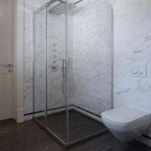 bagno in marmo Tobacco Brown e Statuario Venato - 5
