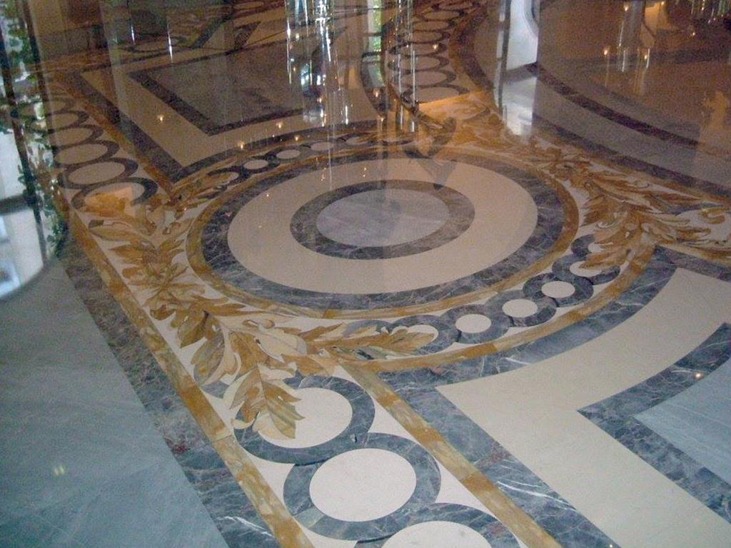 Pavimento di marmo ad intarsio, marmi colorati - 3