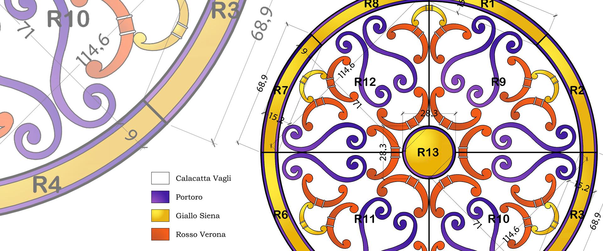 rosone policromo in pavimento di marmo Calacatta
