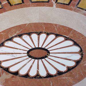 Villa Mosca Pavimenti in Botticino, Giallo Siena, Rosso Alicante, Portoro, Statuario
