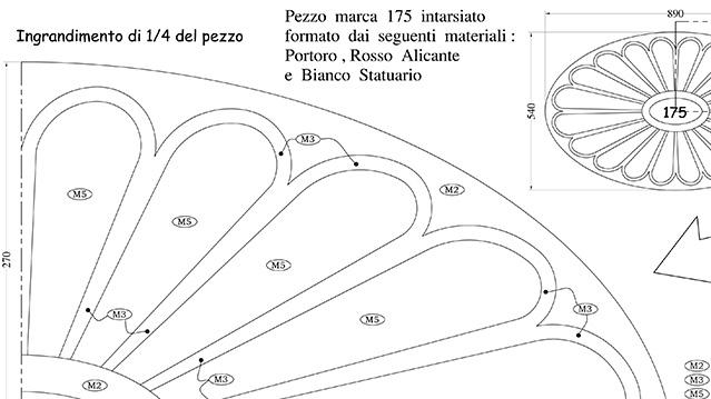 scala Villa Mosca Pavimenti in Botticino, Giallo Siena, Rosso Alicante, Portoro, Statuario - 3